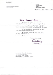LORD RICHARD G. CASEY - TYPED LETTER SIGNED 10/29/1970