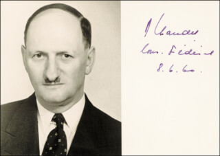 Autographs: PRESIDENT PAUL CHAUDET (SWITZERLAND) - PHOTOGRAPH SIGNED 06/08/1960