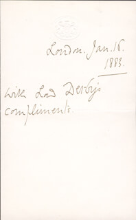 Autographs: EDWARD (15TH EARL OF DERBY) STANLEY - AUTOGRAPH SENTIMENT SIGNED 01/16/1883