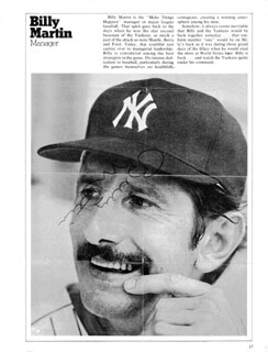 BILLY MARTIN - MAGAZINE PHOTOGRAPH SIGNED