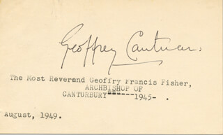 Autographs: GEOFFREY FRANCIS FISHER - SIGNATURE(S) CIRCA 1949