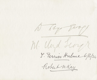 Autographs: PRIME MINISTER DAVID LLOYD GEORGE (GREAT BRITAIN) - SIGNATURE(S) CO-SIGNED BY: VISCOUNT JOHN ALLSEBROOK 1ST VISCOUNT SIMON SIMON, THOMAS FERRIER HULME, DAME MARGARET LLOYD GEORGE, E. A. MCCARTHY
