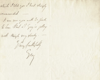 HENRY GEORGE EARL GREY III - AUTOGRAPH LETTER SIGNED 02/07/1851