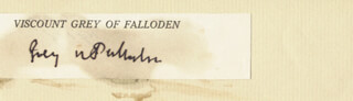SIR EDWARD (GREY OF FALLODEN) GREY - CLIPPED SIGNATURE  - HFSID 23781