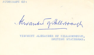VISCOUNT ALBERT ALEXANDER OF HILLSBOROUGH - AUTOGRAPH