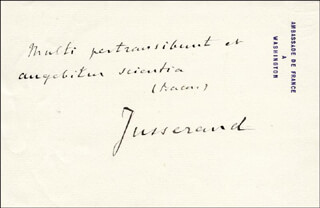 JEAN J. JUSSERAND - AUTOGRAPH NOTE SIGNED
