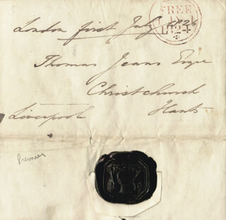 PRIME MINISTER ROBERT BANKS (2ND EARL OF LIVERPOOL) JENKINSON - FREE FRANK SIGNED 07/01/1824