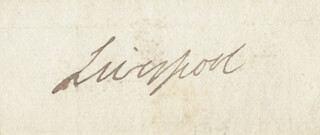 Autographs: PRIME MINISTER ROBERT BANKS (2ND EARL OF LIVERPOOL) JENKINSON - CLIPPED SIGNATURE