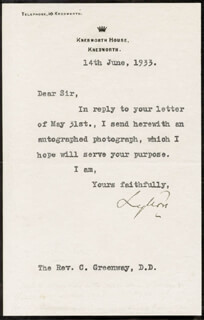 VICTOR A. BULWER-LYTTON - TYPED NOTE SIGNED 06/14/1933