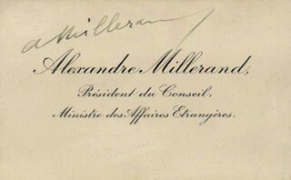 Autographs: PRESIDENT ALEXANDRE MILLERAND (FRANCE) - CALLING CARD SIGNED