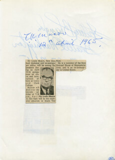 PRESIDENT LESLIE MUNRO (UNITED NATIONS) - AUTOGRAPH 04/12/1965 CO-SIGNED BY: GOVERNOR ARTHUR B. LANGLIE