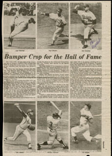 DON DRYSDALE - NEWSPAPER ARTICLE SIGNED CIRCA 1981