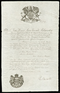 Autographs: PRIME MINISTER HENRY JOHN (VISCOUNT PALMERSTON III) TEMPLE (GREAT BRITAIN) - DOCUMENT SIGNED 05/05/1841