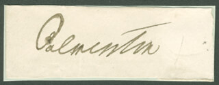 Autographs: PRIME MINISTER HENRY JOHN TEMPLE (GREAT BRITAIN) - CLIPPED SIGNATURE