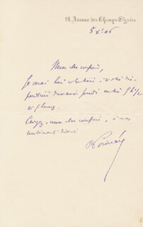 PRIME MINISTER RAYMOND POINCARE (FRANCE) - AUTOGRAPH NOTE SIGNED 1906