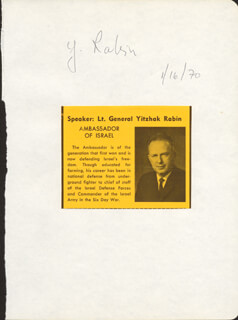 Autographs: PRIME MINISTER YITZHAK RABIN (ISRAEL) - SIGNATURE(S) 01/16/1970