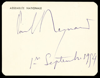 PRIME MINISTER PAUL REYNAUD (FRANCE) - AUTOGRAPH 09/01/1954