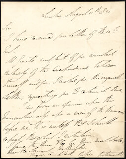 DUKE (ARTHUR WELLESLEY) OF WELLINGTON (GREAT BRITIAN) - AUTOGRAPH LETTER SIGNED 08/11/1831
