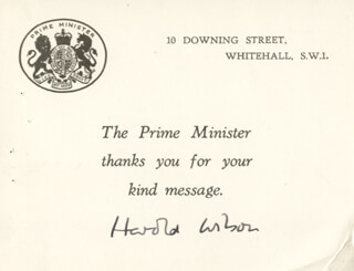 Autographs: PRIME MINISTER HAROLD WILSON (GREAT BRITAIN) - PRINTED CARD SIGNED IN INK CIRCA 1968