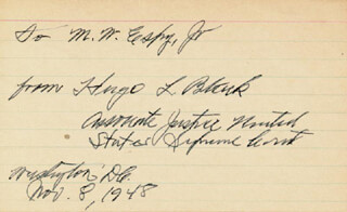 ASSOCIATE JUSTICE HUGO L. BLACK - INSCRIBED SIGNATURE 11/08/1948