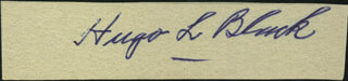 Autographs: ASSOCIATE JUSTICE HUGO L. BLACK - SIGNATURE(S)