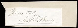JAMES T. BRADY - AUTOGRAPH SENTIMENT SIGNED