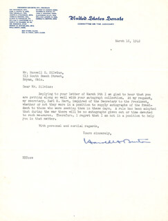 Autographs: ASSOCIATE JUSTICE HAROLD H. BURTON - TYPED LETTER SIGNED 03/16/1942