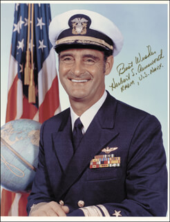 Autographs: REAR ADMIRAL HERBERT AINSWORTH - PHOTOGRAPH SIGNED 1972
