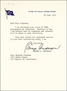 Autographs: ADMIRAL GEORGE W. ANDERSON JR. - TYPED LETTER SIGNED 05/25/1963