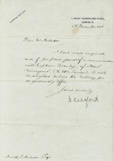 Autographs: ADMIRAL CHARLES W. BERESFORD - MANUSCRIPT LETTER SIGNED 12/06/1916