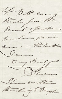 Autographs: COUNT MARSHAL GEORGE CHARLES III EARL OF LUCAN BINGHAM - AUTOGRAPH LETTER SIGNED 02/15/1862