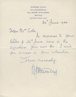 Autographs: AIR CHIEF MARSHAL NORMAN H. BOTTOMLEY - AUTOGRAPH LETTER SIGNED 06/30/1960