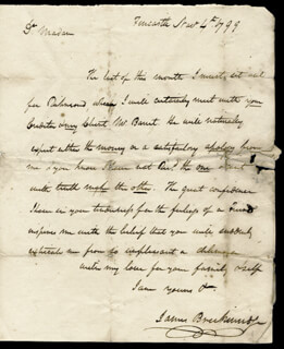 Autographs: BRIGADIER GENERAL JAMES BRECKENRIDGE - AUTOGRAPH LETTER SIGNED 11/04/1799