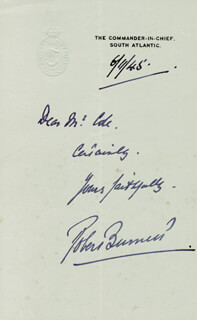 Autographs: ADMIRAL ROBERT L. BURNETT - AUTOGRAPH NOTE SIGNED 06/11/1945