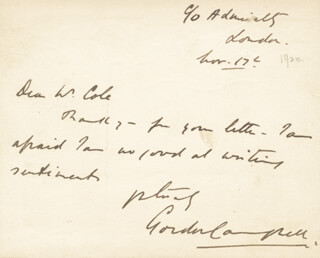 REAR ADMIRAL GORDON CAMPBELL - AUTOGRAPH NOTE SIGNED 11/17/1920