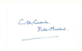 Autographs: FIELD MARSHAL JAMES CASSELS - SIGNATURE(S)