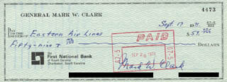 Autographs: GENERAL MARK W. CLARK - CHECK SIGNED 09/17/1971