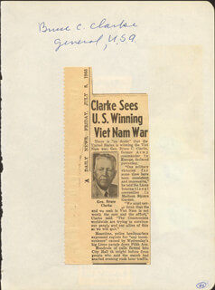 GENERAL BRUCE C. CLARKE - AUTOGRAPH CIRCA 1966 CO-SIGNED BY: RICHARD SWEET SUE