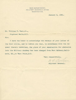 Autographs: LT. GENERAL HENRY C. CORBIN - TYPED LETTER SIGNED 01/02/1901