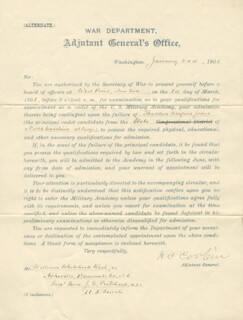 Autographs: LT. GENERAL HENRY C. CORBIN - DOCUMENT SIGNED 01/24/1901