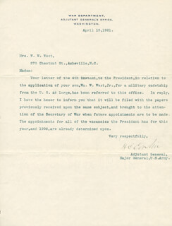 Autographs: LT. GENERAL HENRY C. CORBIN - TYPED LETTER SIGNED 04/15/1901