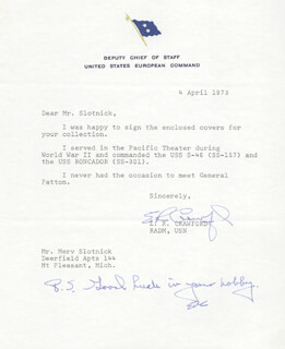 Autographs: GENERAL E. R. CRAWFORD - TYPED LETTER TWICE SIGNED 04/04/1973