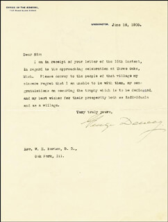 Autographs: ADMIRAL GEORGE DEWEY - TYPED LETTER SIGNED 06/18/1900