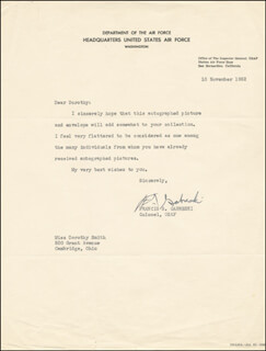COLONEL FRANCIS S. GABBY GABRESKI - TYPED LETTER SIGNED 11/10/1952
