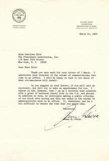 LT. GENERAL JAMES M. GAVIN - TYPED LETTER SIGNED 03/11/1969