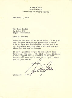LT. GENERAL JAMES M. GAVIN - TYPED LETTER SIGNED 09/05/1958