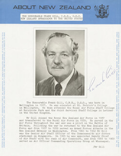 Autographs: FRANK GILL - BIOGRAPHY SIGNED CIRCA 1980