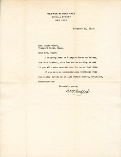 MAJOR GENERAL GEORGE W. GOETHALS - TYPED LETTER SIGNED 11/26/1923