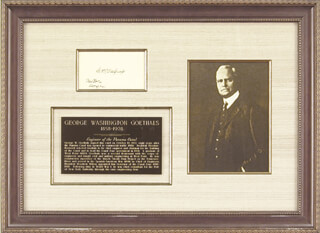 Autographs: MAJOR GENERAL GEORGE W. GOETHALS - SIGNATURE(S) 10/19/1922
