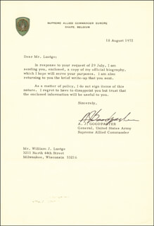 GENERAL ANDREW J. GOODPASTER - TYPED LETTER SIGNED 08/18/1972
